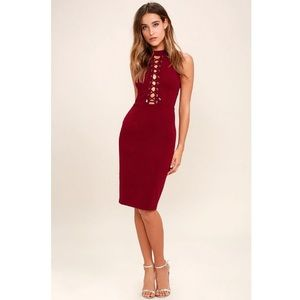 Lulu's Hold You Tight Wine Lace Up Body con Dress
